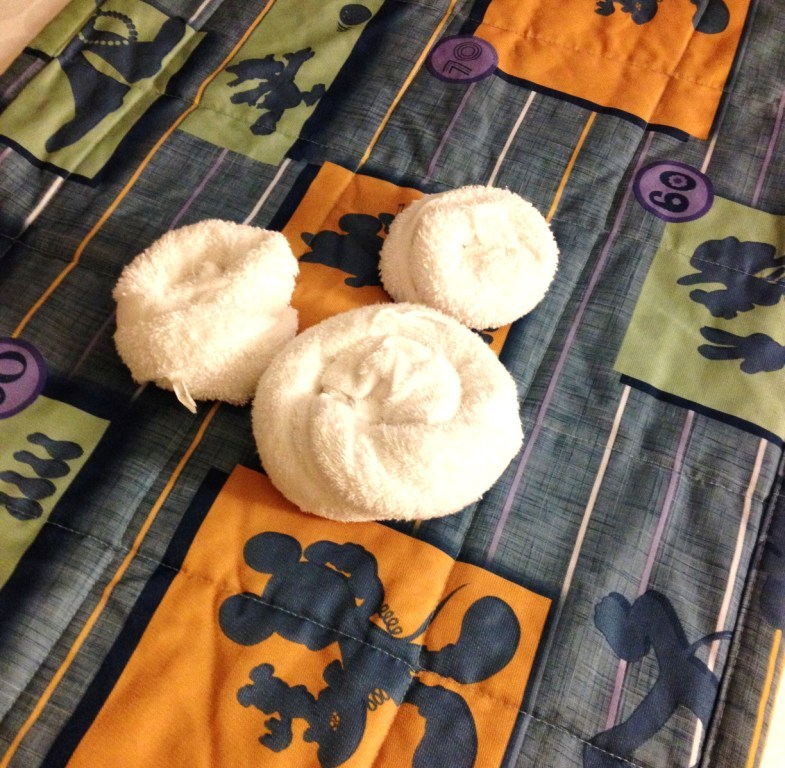 towels in the shape of mickey on mickey bedding
