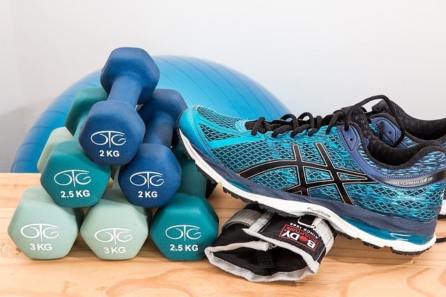 Sneakers and dumbbells for Blue Cross Fitness Program