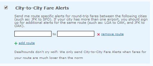 city to city fare alerts image