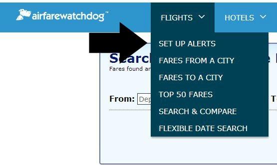 Airfarewatchdog website to set up alerts