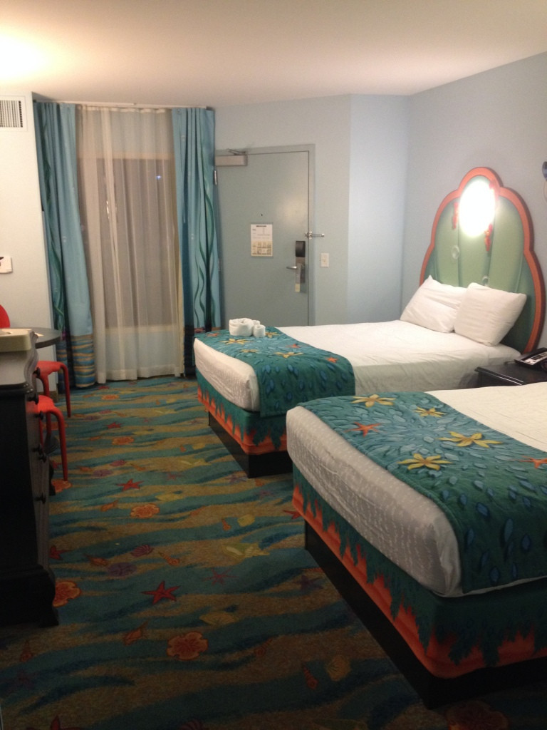 beds and window in little mermaid room at Disney Art of Animation Resort