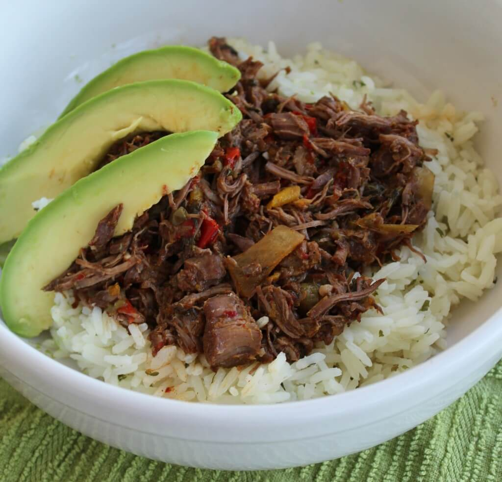 ropa vieja with avocado in bowl