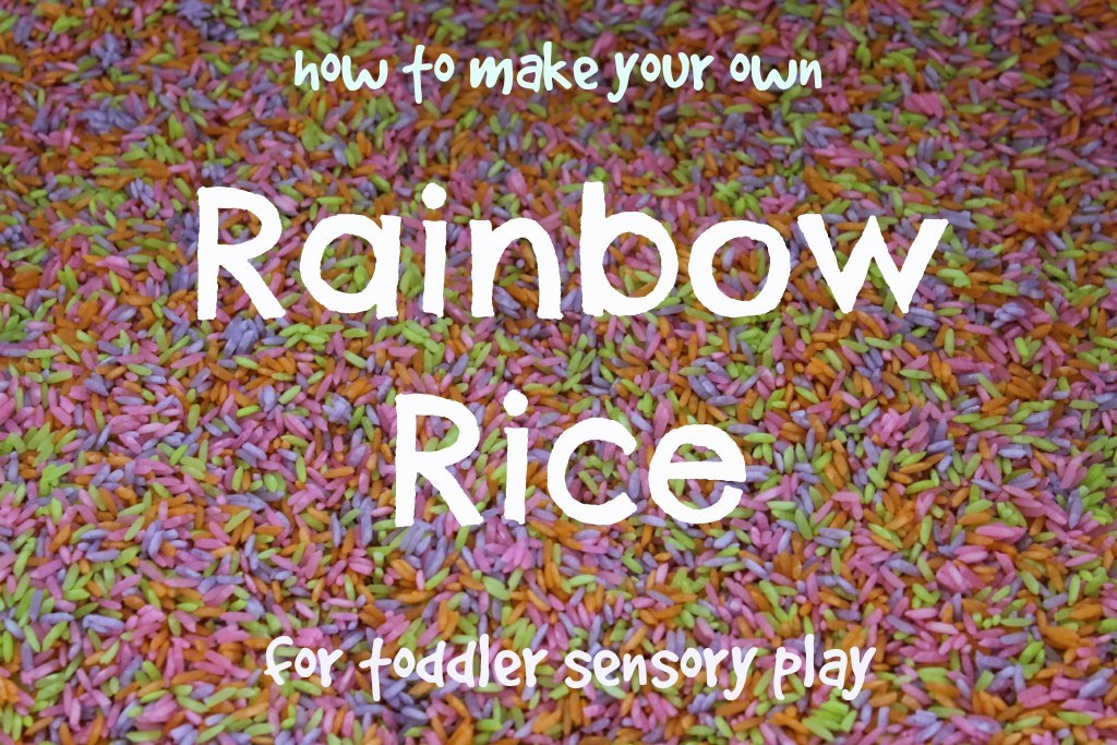 how to make your own rainbow rice for toddler sensory play image