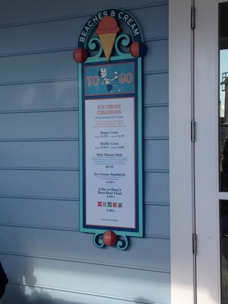 beaches and cream to go menu outside