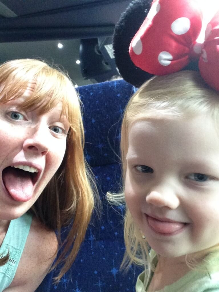 mom and daughter selfie on the magical express