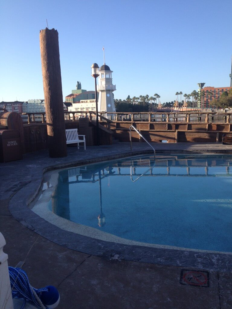 The kiddie pool inside the pirate ship