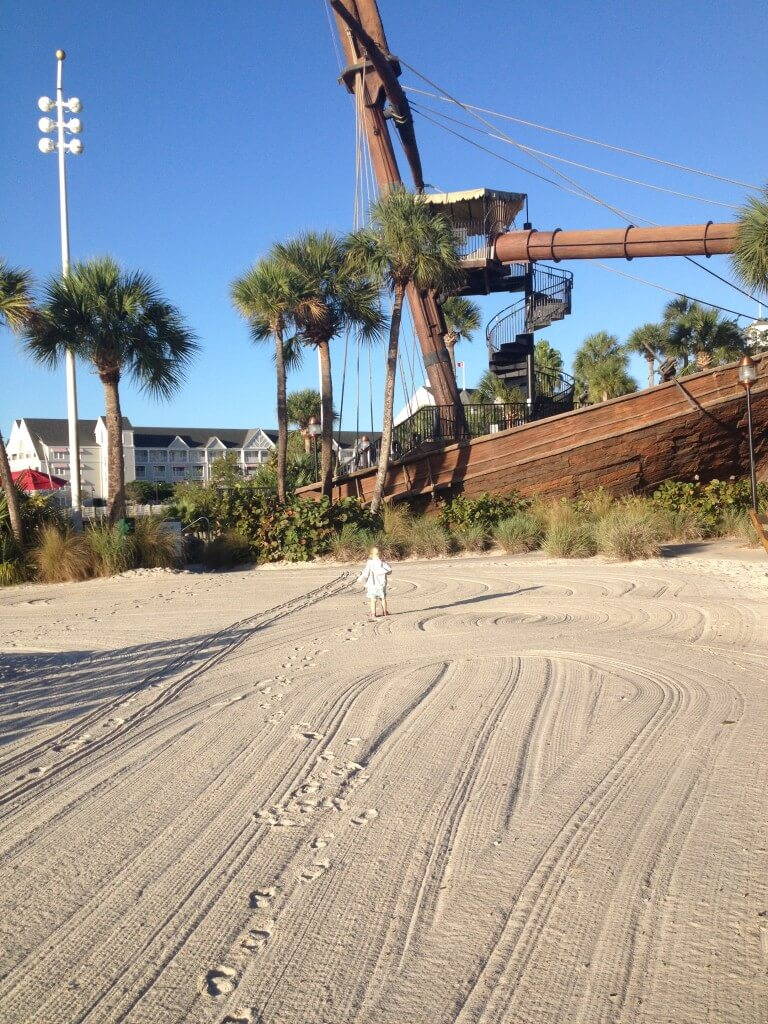 beach outside of the pirate ship