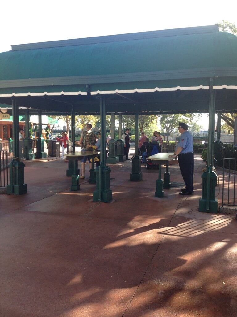 Bag check at Epcot's back entrance