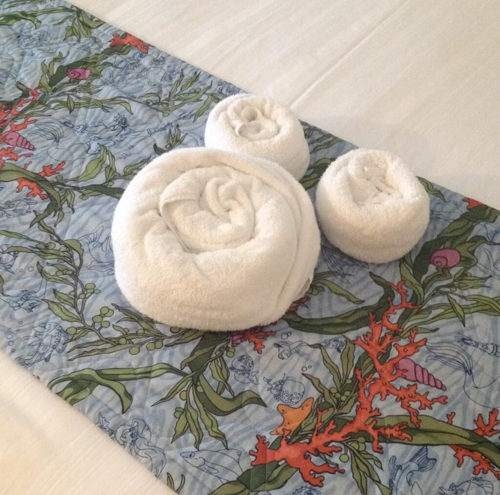 Towels folded in the shape of mickey