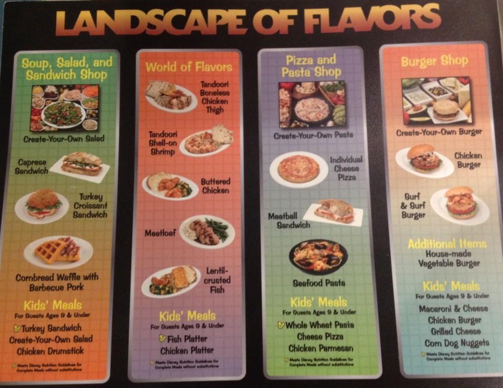 Landscape of Flavors menu with photos