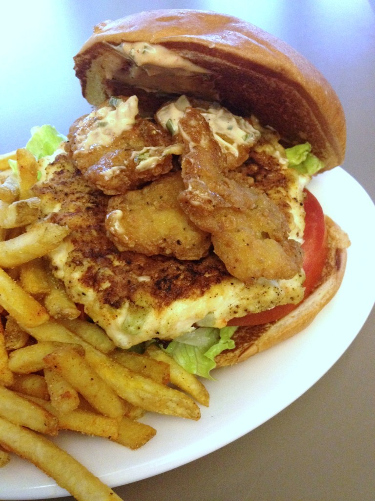 surf and surf burger with fries