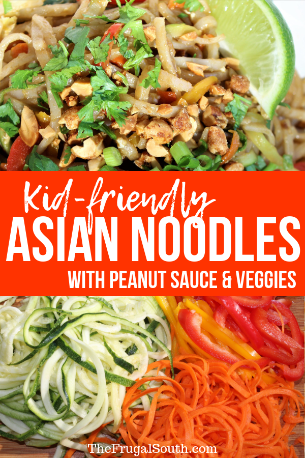 Kid Friendly Asian Noodles with Peanut Sauce and Veggies Pinterest Image