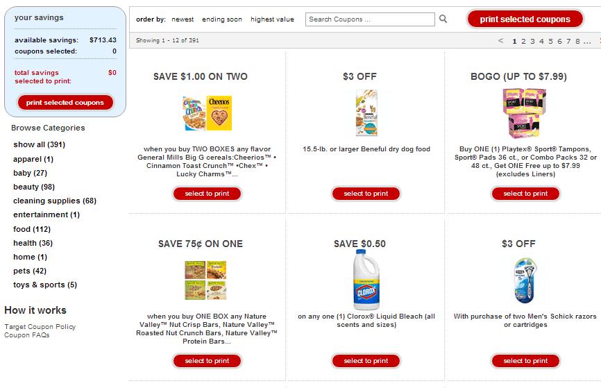 Target Coupons on the cartwheel app