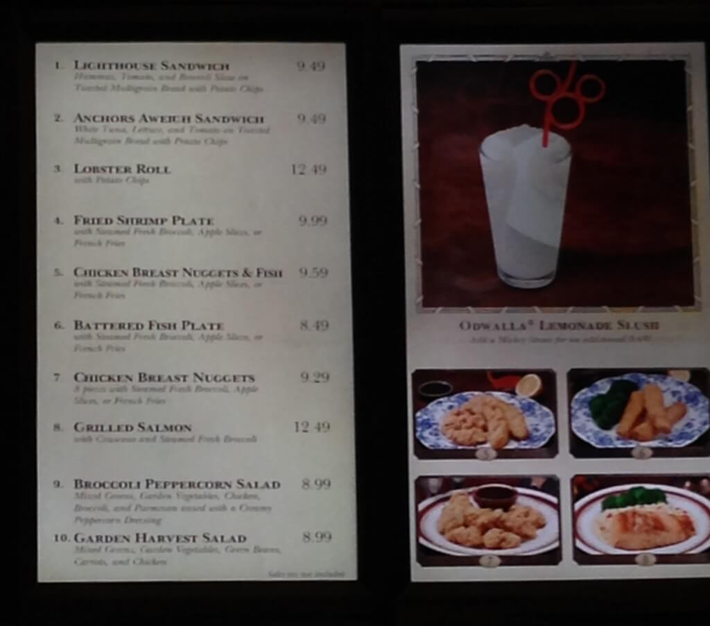 menu with photos and pricing