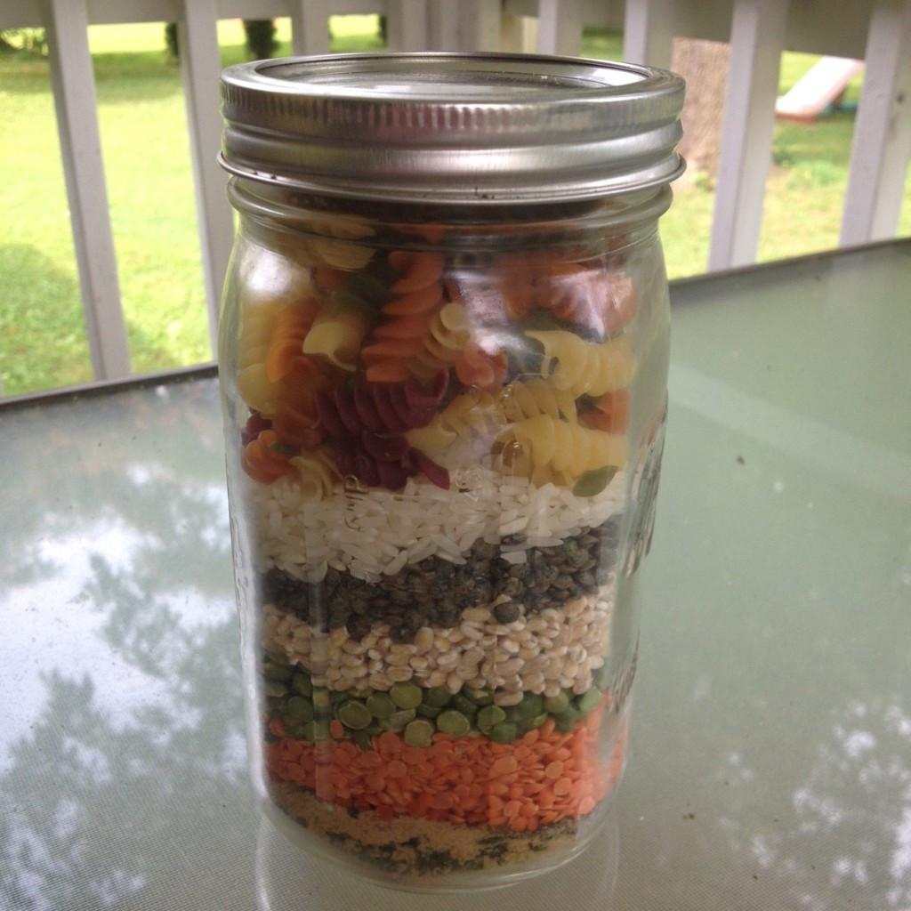 mason jar of soup ingredients