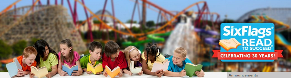 Six Flags Read to Succeed logo with kids reading