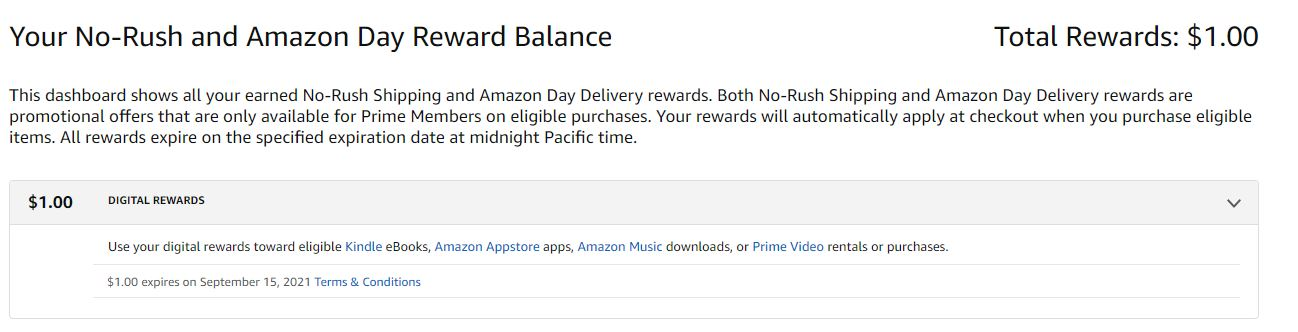 screenshot of available amazon promotional credit