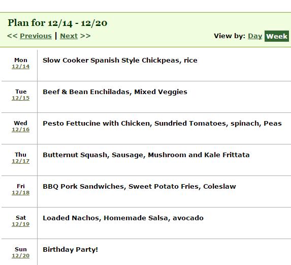week long dinner meal plan