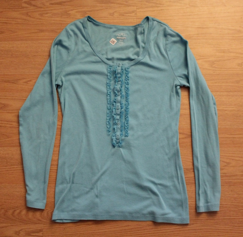 long sleeve blue ruffle shirt