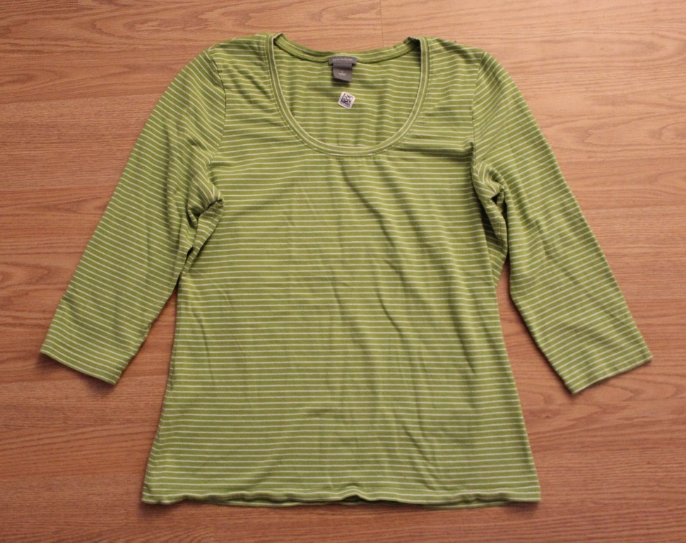 long sleeve green striped shirt