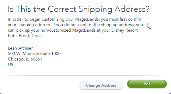 image confirming shipping address