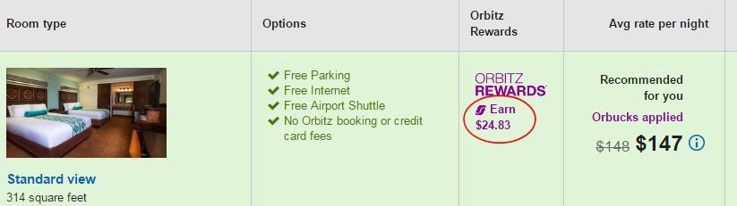 orbitz booking screen showing orbitz rewards