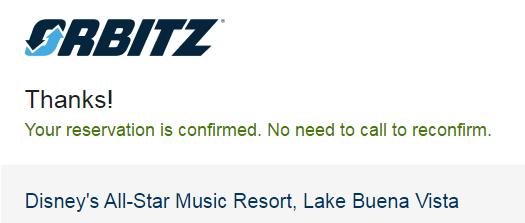image of orbitz reservation confirmation screen