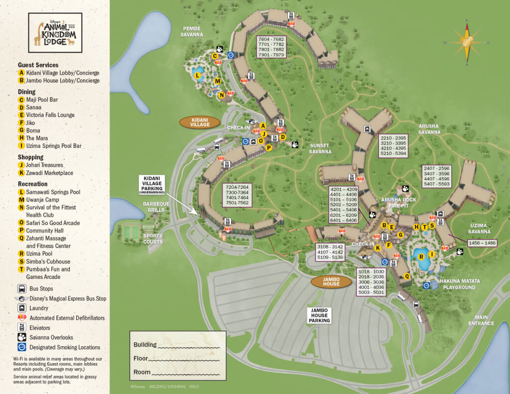 Disney Animal Kingdom Lodge map - Jambo House or Kidani Village