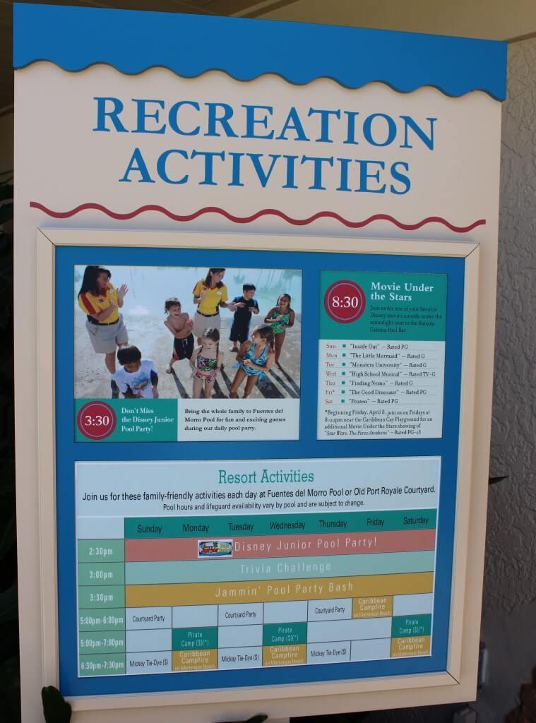 recreation activities sign