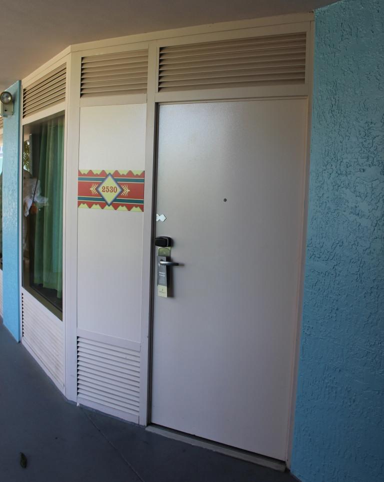 Exterior door of resort room