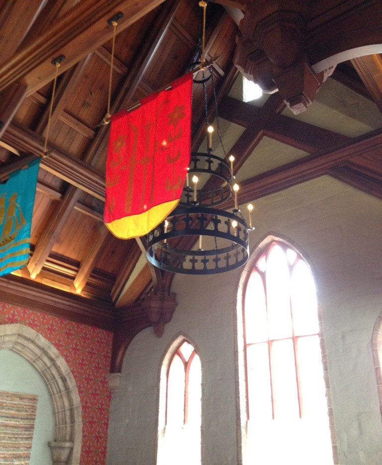 chandelier and banners