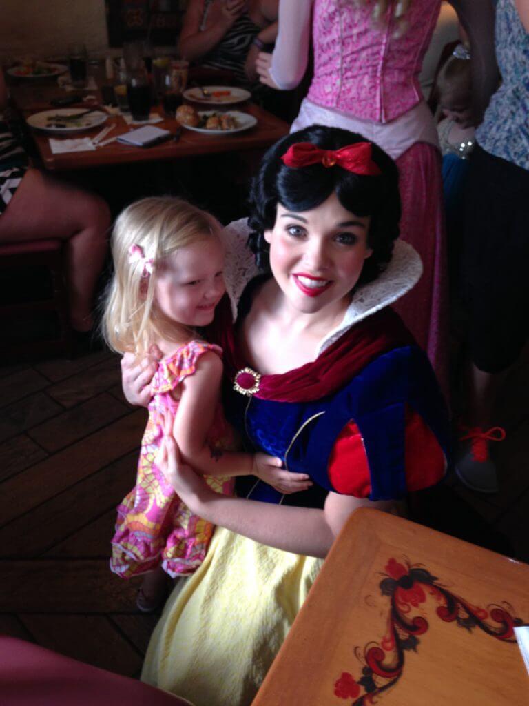 little girl meeting snow white