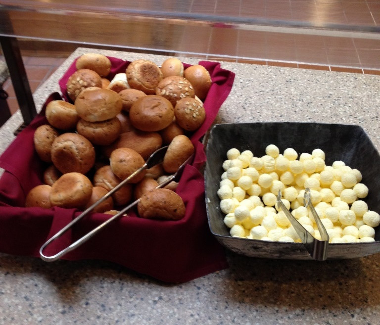 dinner rolls and balls of butter