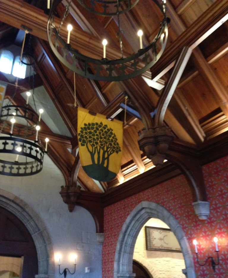 chandeliers and banners