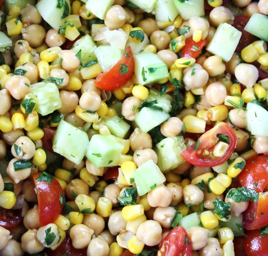Corn and Chickpea Fiesta Salad with Cilantro-Lime Dressing