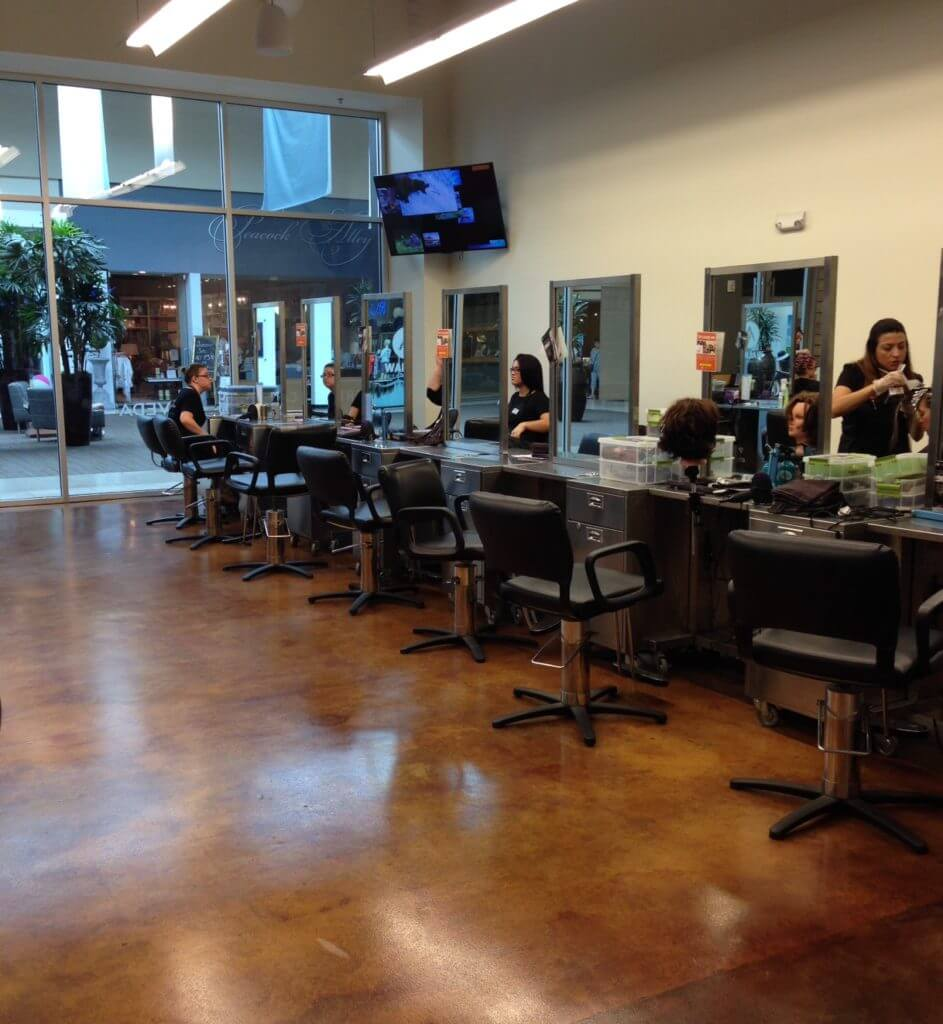 beautician stations at Aveda
