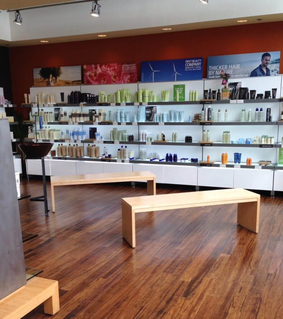 Aveda product wall