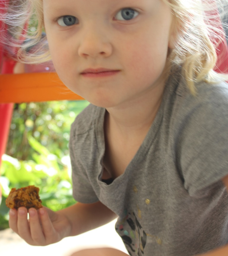 little girl eating Pumpkin Pecan Cinnamon Chip Muffins