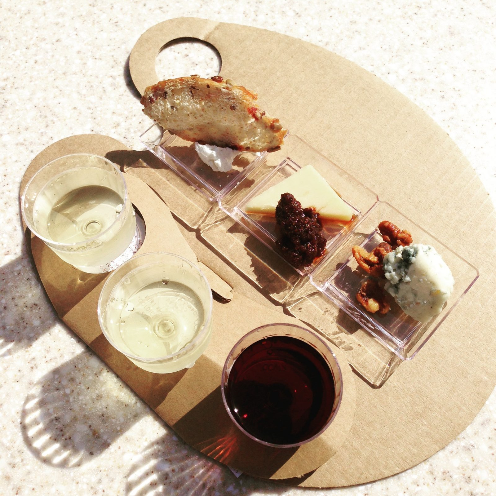 wine and cheese flight at epcot food and wine festival