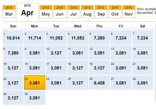 calendar with flight pricing