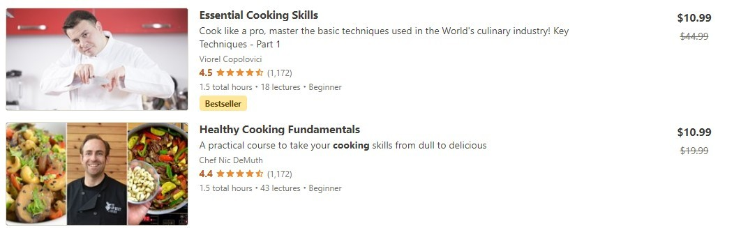 screen shot of cooking classes