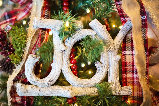 close up of Joy christmas ornament on the tree