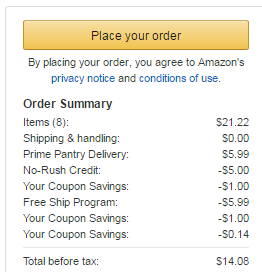 prime pantry order summary