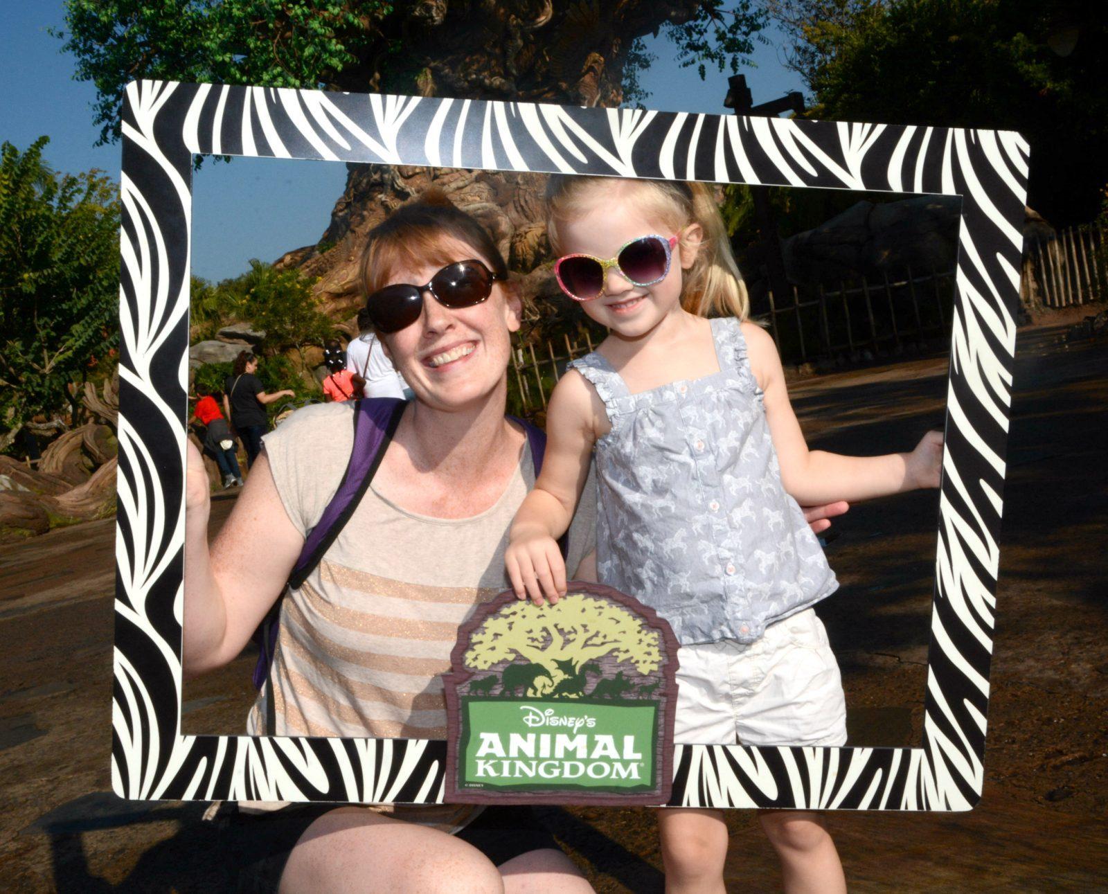 mommy daughter zebra frame photo at animal kingdom