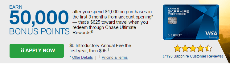 Chase Sapphire Visa Credit Card Promotion