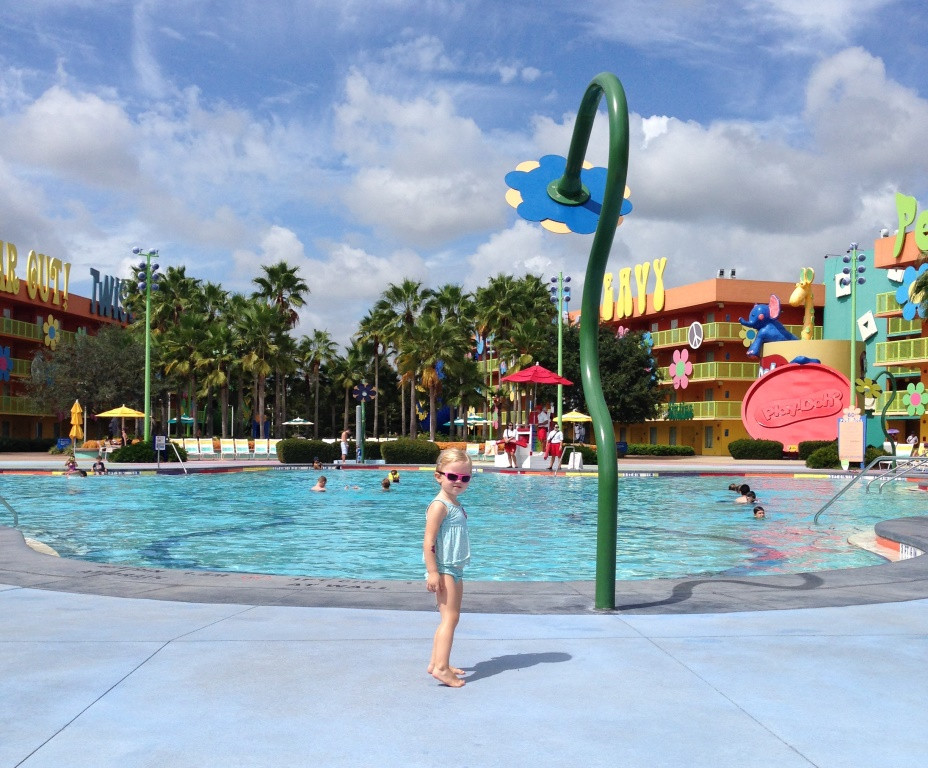 little girl at disney's pop century resort feature pool
