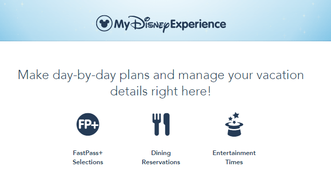 magic band disney screenshot from my disney experience of plans