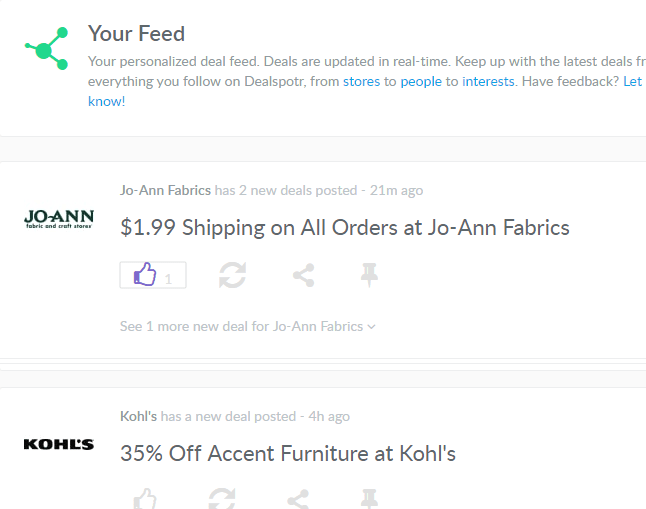 your feed on dealspotr