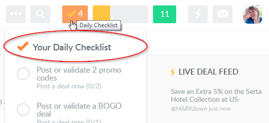daily checklist on dealspotr