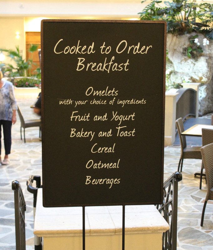 Cooked to Order Breakfast Sign with options listed